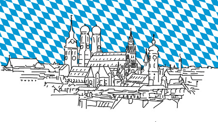 On the roofs of Munich, Vector Outline Sketch with bavarian Flag in background