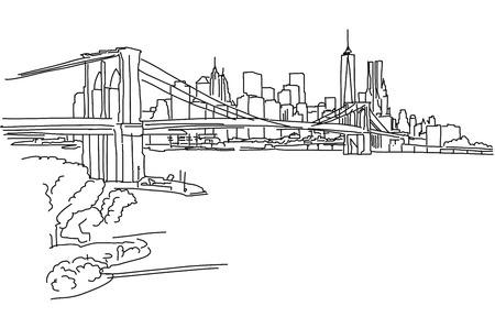 New York Panorama mit Brooklyn-Brücke, Vektor Umriss-Skizze Standard-Bild - 55080973