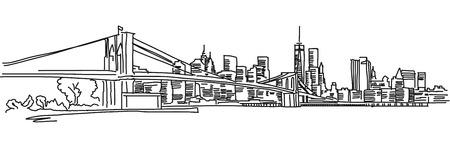 뉴욕 파노라마 브루클린 다리, 벡터 개요 스케치 일러스트