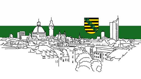 apartment tower old town: Leipzig Skyline Vector Outline Sketch with saxonian Flag in Background