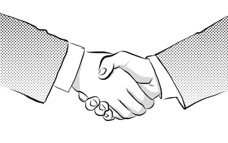 acquisitions: Shaking Hands Vintage Sketch Vector Illustration with black dots
