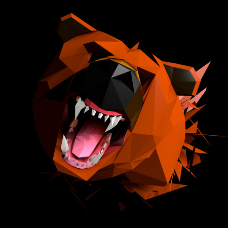 cries: Low Poly Bear cries, Face view, Frontal Portrait shot, Wide perpective, 3D Rendering