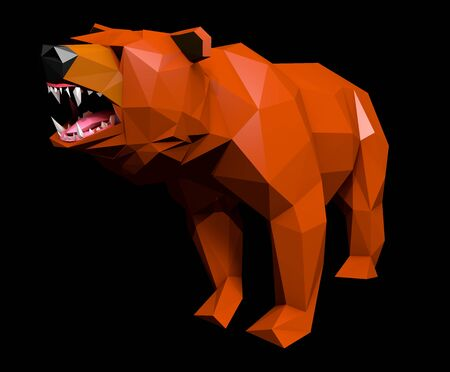 cries: Low Poly Bear Face cries, Separated on Black, Low Angle Shot, 3D Rendering