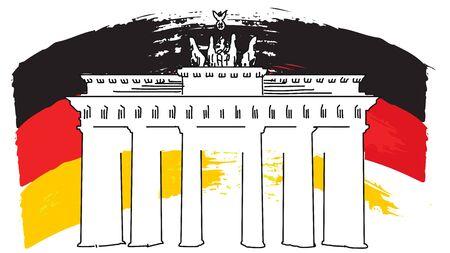 German Flag Sketch e Porta di Brandeburgo, grafica vettoriale, separati su bianco