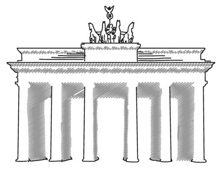 deutschland: Brandenburger Gate Berlin, Vector Sketch and Outline Artwork Illustration