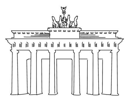 Brandenburger Gate Berlin, Vector Outline Artwork, separated on White