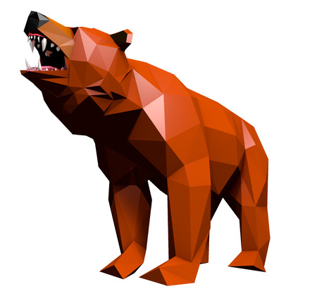 cries: Low Poly Bear Face cries,Separated on White, Low Angle Shot, 3D Rendering Stock Photo