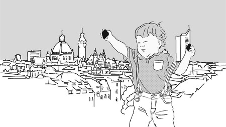 thomas stone: Little Boy with Rocks in Front of Leipzig. Vector Hand Drawn Sketch with grey Background. Illustration