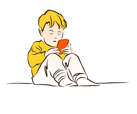 cute little boy: Little Boy Playing with Mobile. Isolated on White. Vector Vintage Artwork. Hand Drawn Sketch. Illustration