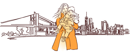 Mother with Child in Front of New York Panorama, Vector Hand Drawn Sketch