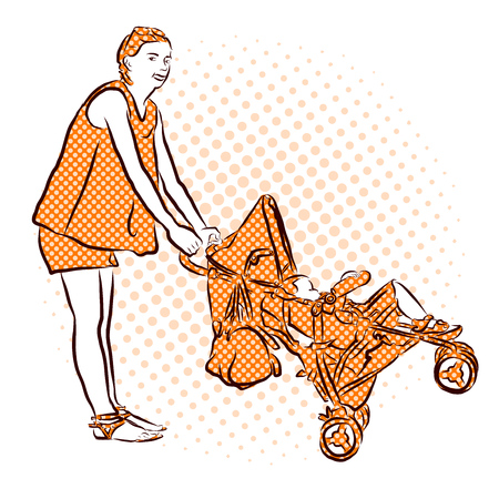 have fun: Mother have Fun with Buggy and Child in Holidays. Vector Hand Drawn Sketch. Illustration