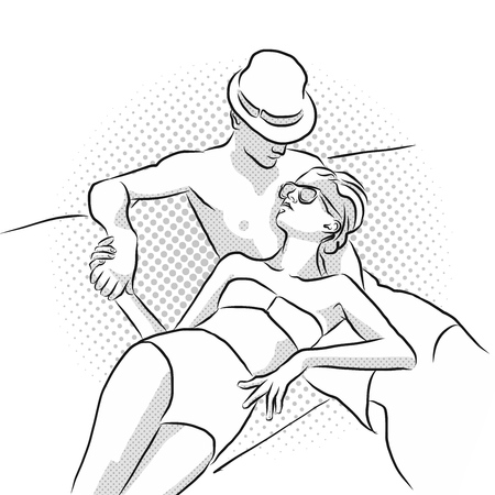 couple in summer: Young, attractive and rich couple takes sunbath on boat. Hand Drawn Vector Sketch. Illustration
