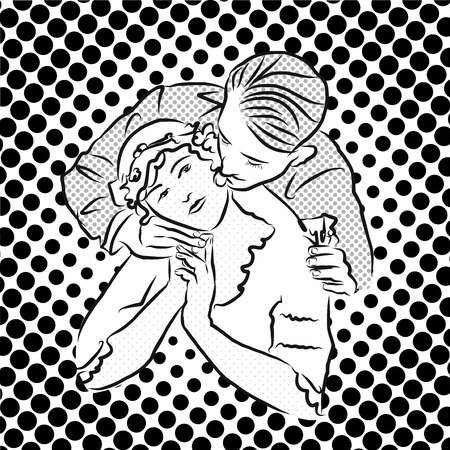 passionate: PASSIONATE EMBRACE. Vector Vintage Artwork. Hand Drawn Sketch.