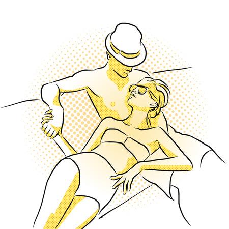 rich couple: Young rich couple takes sunbath on boat. Colored Artwork. Hand Drawn Vector Sketch.