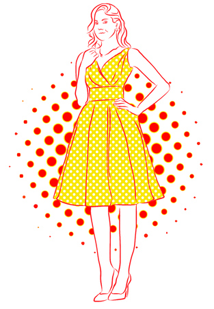 yellow dress: Nice Girl Smiling in Yellow Dress. Vintage Artwork. Hand Drawn Vector Sketch. Illustration