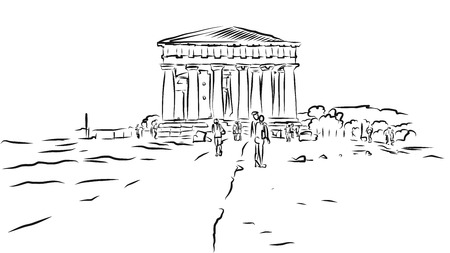 valley of the temples: Temple of Concordia. Valley of Temples, Agrigento, Sicily. Hand Drawn Sketch. Illustration