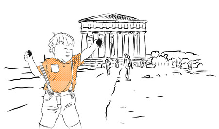 concordia: Baby with Rocks and Temple of Concordia. Hand Drawn Sketch. Illustration
