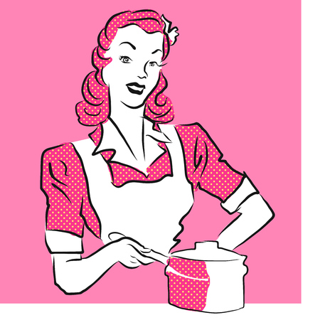 mom and pop: Pink Woman Coocking, Vintage Artwork. Hand Drawn Vector Sketch.