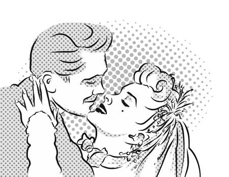 Emotional Kiss. Vintage Artwork. Hand Drawn Vector Sketch.