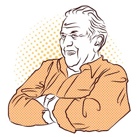 senior men: Grandpa crossed arms. Vector Hand Drawn Sketch. Vintage Artwork.