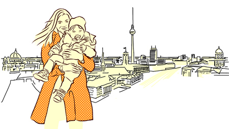 panorama view: Woman with Child in Front of Berlin Panorama View. Hand Drawn. Orange Colored Sketch.