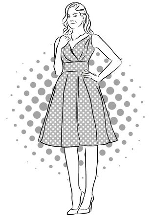 beatiful: Beatiful Girl Standing in Front of Dotted Background. Vinatge Artwork. Hand Drawn Vector Sketch.