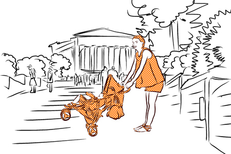 buggy: Mother with Buggy in Orange and Temple. Agrigento, Sicily. Hand Drawn Sketch.