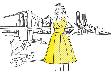 Nice Caucasian Girl with Yellow Dress in Front of New York Skyline. Vector hand Drawn Sketch. Ilustração