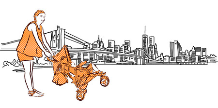 buggy: Mother and Buggy in Front of New York Panorama, Vector outline Sketch Illustration