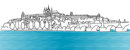 Prague Hradschin Vector Outline Sketch, Hand Drawn Artwork Ilustração