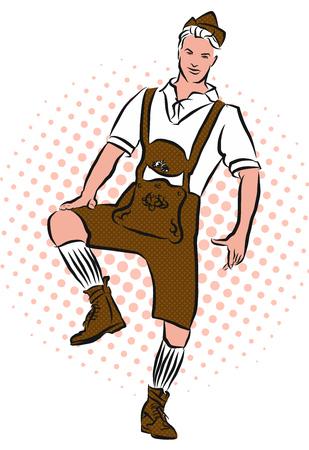 Dance the Schuhplattler, Vector Sketch, Vintage Style