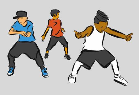 choreography: Three Boys, Hip Hop Choreography, Hand Drawn Sketched Artwork