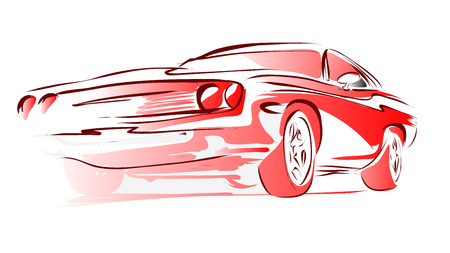 low tire: Old Muscle Car, Vector Outline Colored Sketch, Hand Drawn Illustration