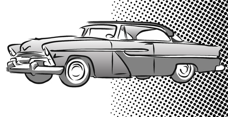 Old American Car Side View, Hand Drawn Sketch, Vector Outlines