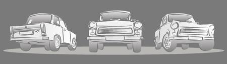 east berlin: Old East german Car, Three Views. Hand Drawn Sketches Illustration