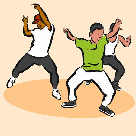 Three Boys, Hip Hop Choreography, Hand Drawn Sketched Artwork