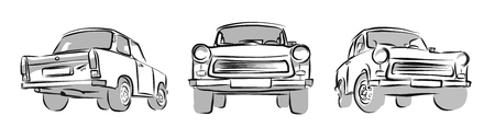 Old East german Car, Three Views. Vector Sketch, Hand Drawn Illustration