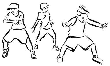 Three Boys, coloring Page, Hip Hop Choreography, Hand Drawn Sketched Artwork