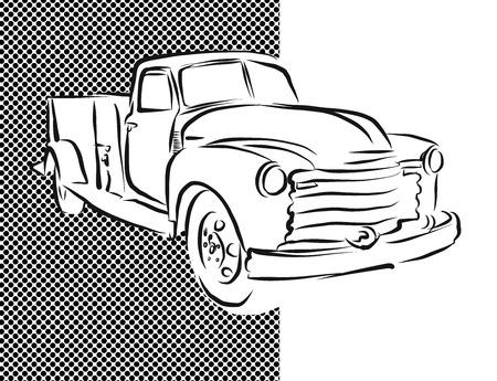 hand truck: Old Pickup Truck Hand Drawn Artwork, Vector Sketch