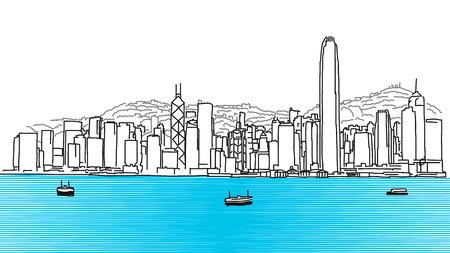 Hon Kong Panorama del horizonte, croquis dibujado a mano Esquema