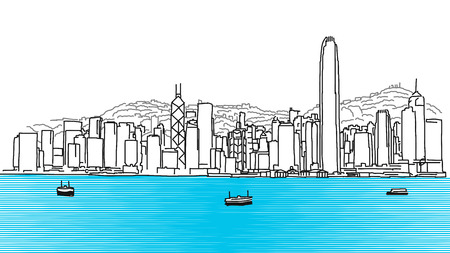 Hon Kong Skyline Panorama, Hand Drawn Outline Sketch