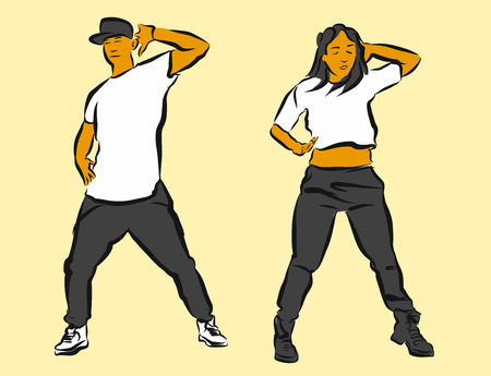 Hip Hop Choreography, Hand Drawn Sketched Artwork