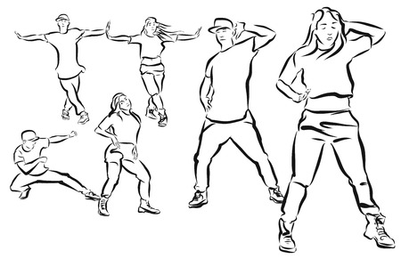 Three Poses Duett, Hip Hop Choreography Coloring Page, Hand Drawn Sketched Artwork Illustration