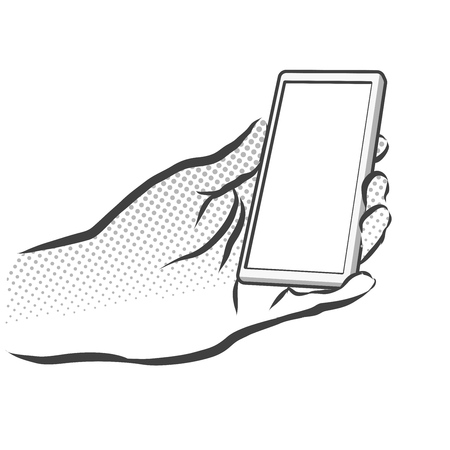 phone in hand: Sketched Hand Holding Mobile Phone, Hand Made Artwork