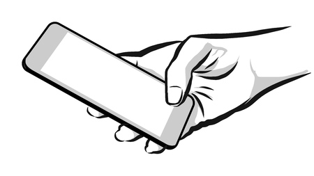 using smartphone: Sketched Hand Holding Mobile Phone, Hand Made Artwork