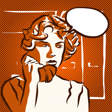 Choqué Phone Call, Vintage Sketch, Main Oeuvre Drawn Banque d'images - 57090593