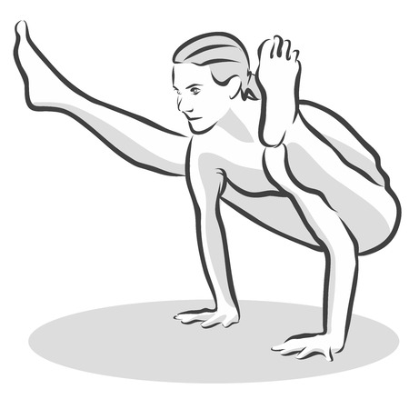 creepy crawly: Old Black Crow Creepy Crawly Tittibhasana Yoga Pose, Free Hand drawn vector halftone Sketch