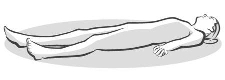 시체 Savasana 요가 포즈, 무료 손으로 그린 벡터 하프 톤 스케치 일러스트