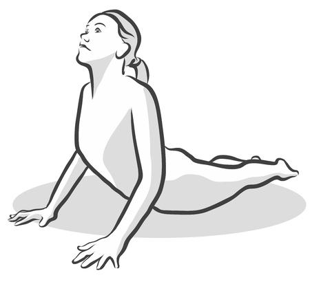 bhujangasana: Cobra Bhujangasana Yoga Pose, Free Hand drawn vector halftone Sketch