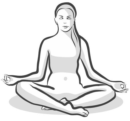 siddhasana: Hand Drawn Siddhasana Perfect Pose, Yoga Woman. Vector Outline Illustration.